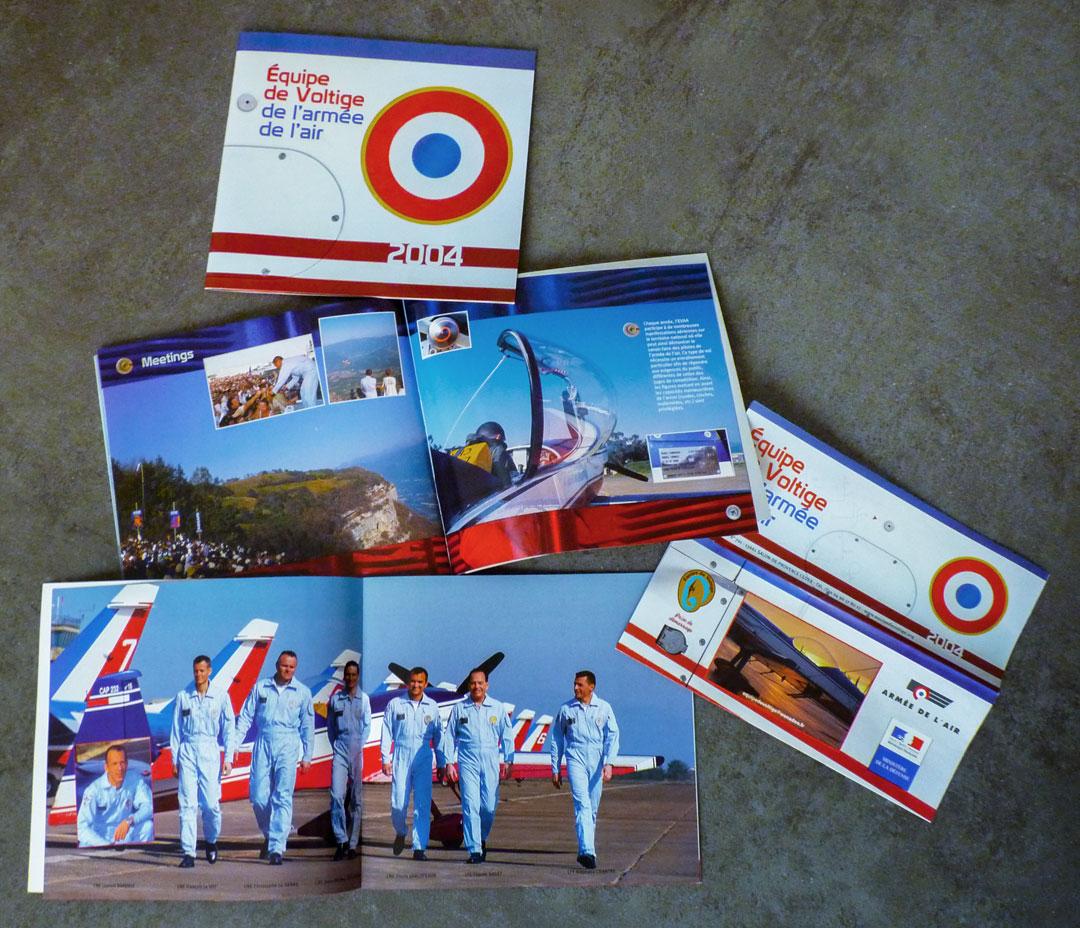 Plaquette et dépliant 2004 de l'Équipe de Voltige de l'Armée de l'Air