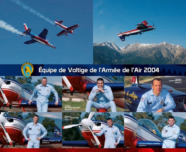 Verso dépliant 2004 de l'Équipe de Voltige de l'Armée de l'Air