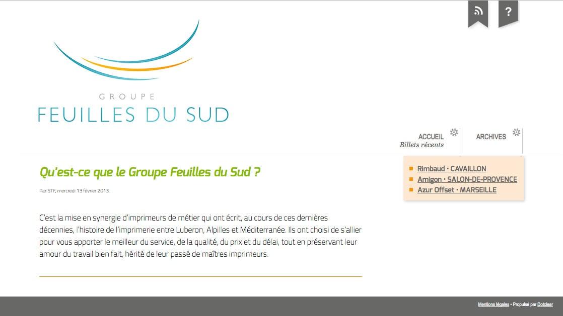 Mini-site Groupe Feuilles du Sud