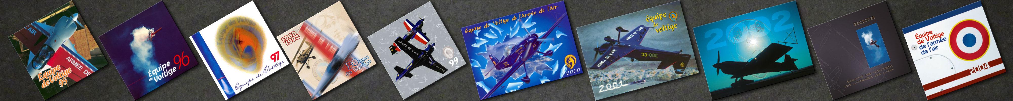 Plaquettes de l'Équipe de Voltige de l'Armée de l'Air réalisées entre 1995 et 2004
