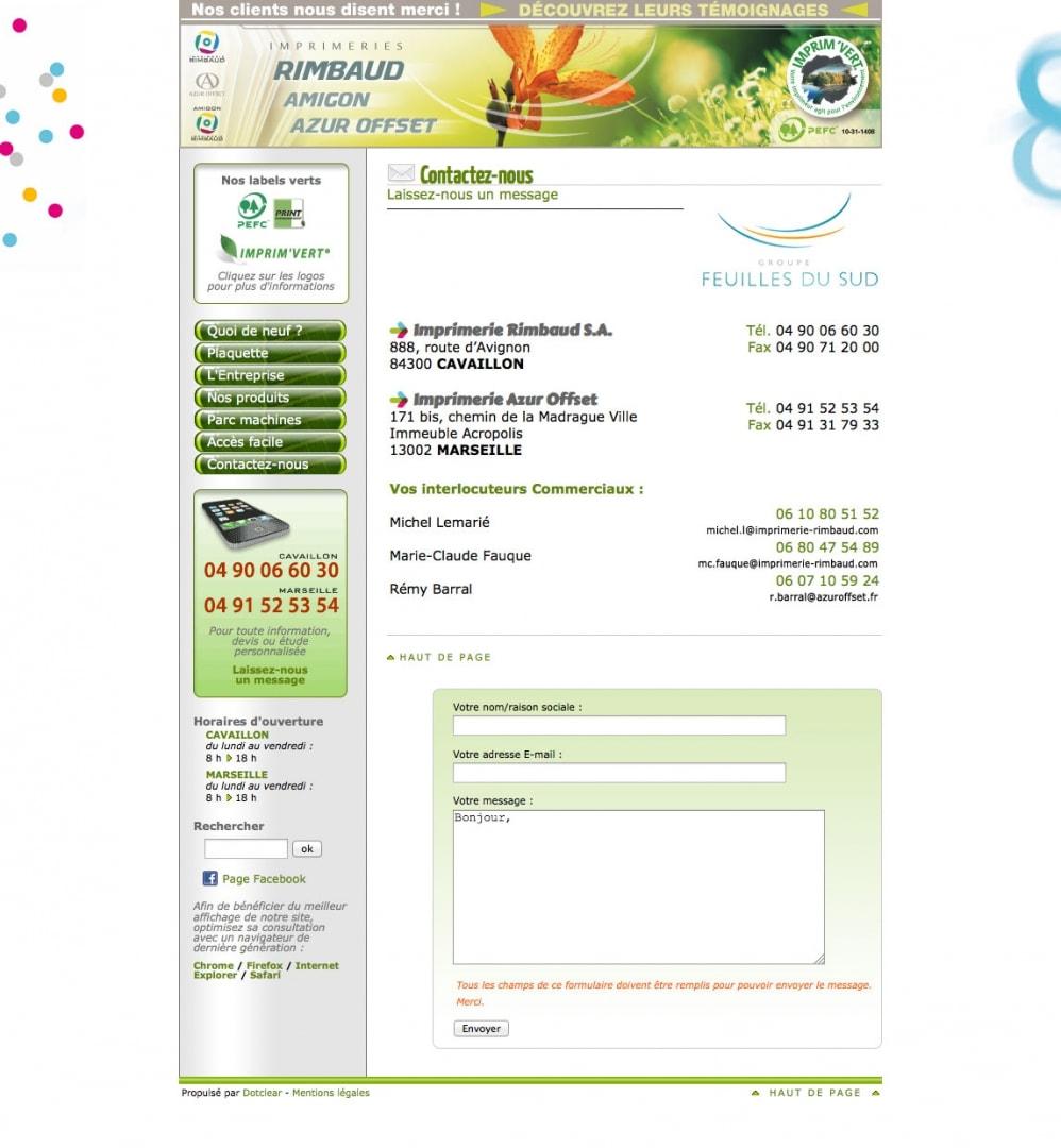 Page Contact du site de l'imprimerie Rimbaud