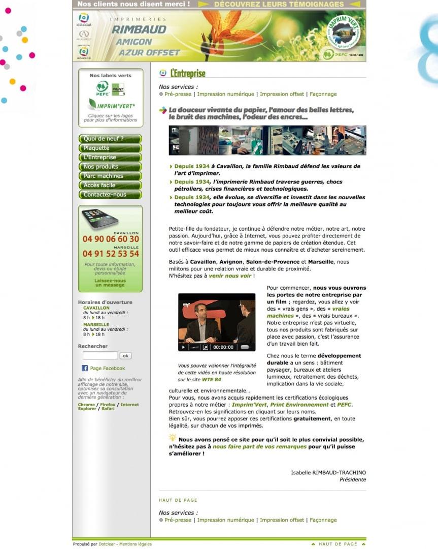 Page Entreprise du site de l'imprimerie Rimbaud