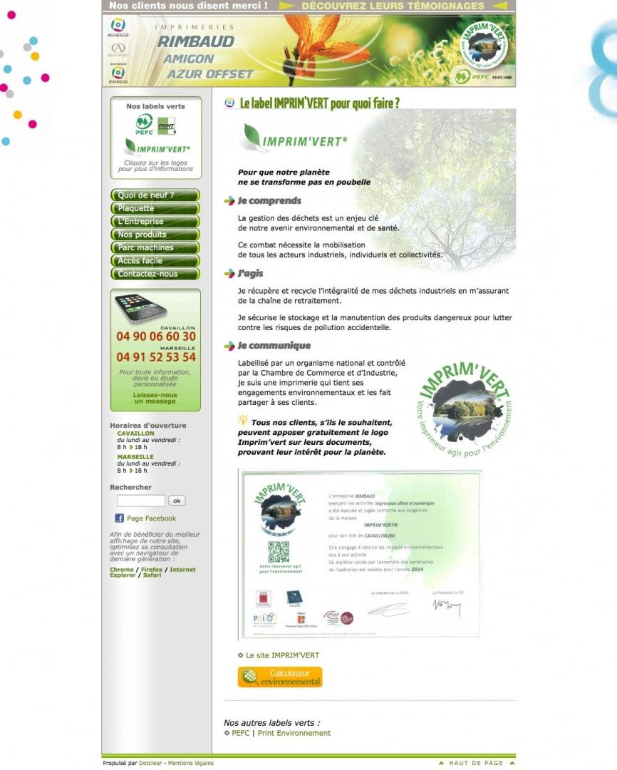 Page Imprim'Vert du site de l'imprimerie Rimbaud