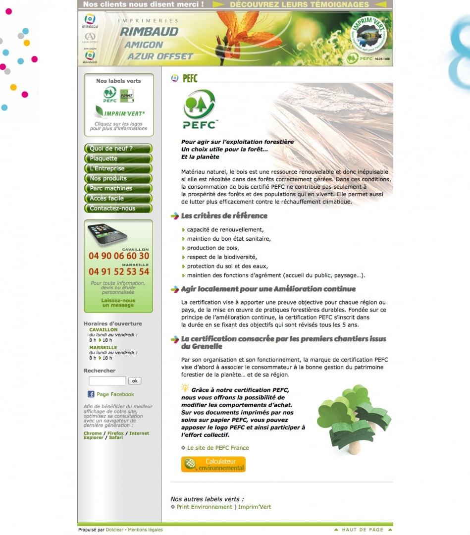 Page PEFC du site de l'imprimerie Rimbaud (avant 04-2014)
