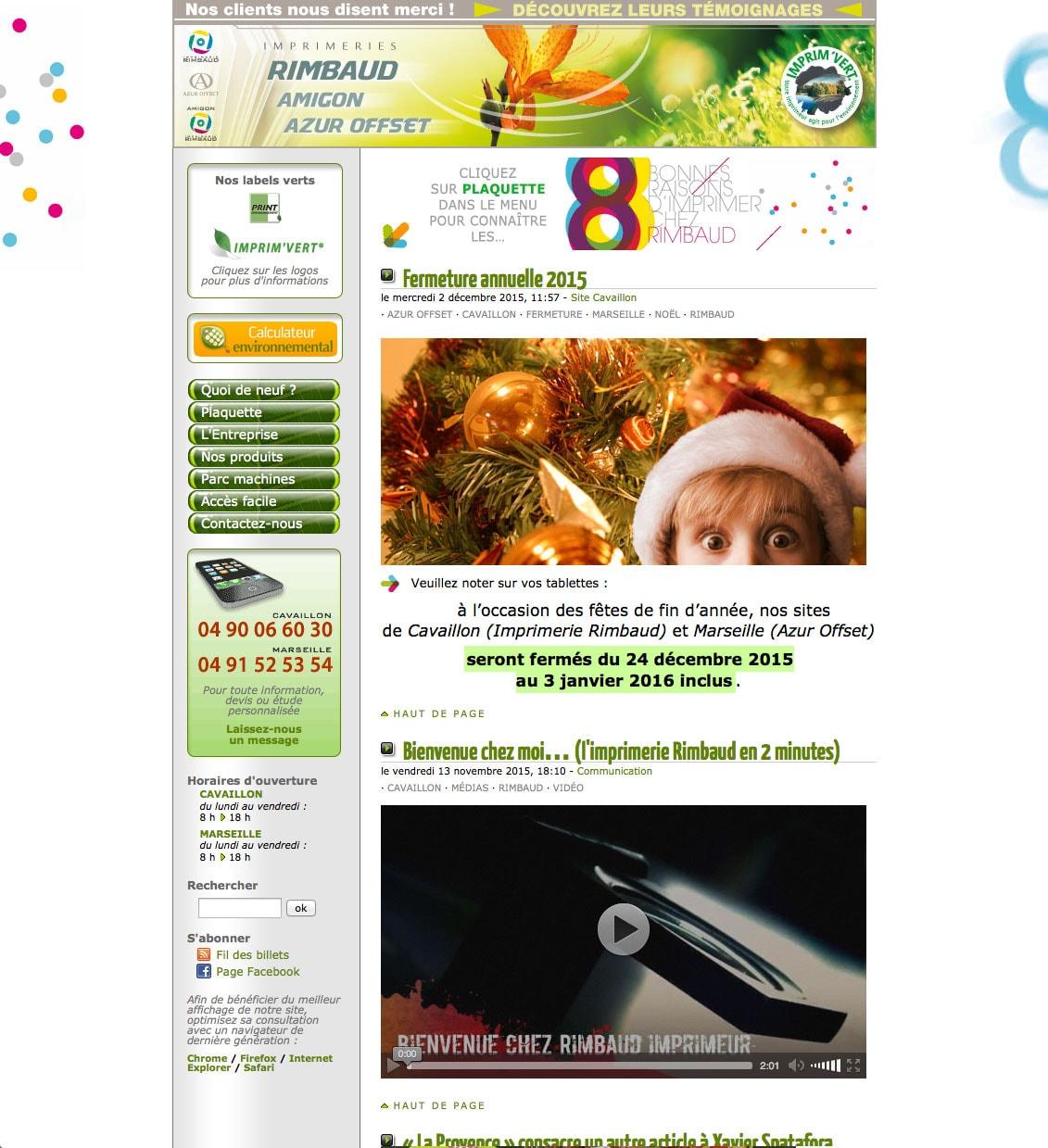 Haut de la page d'accueil du site de l'imprimerie Rimbaud