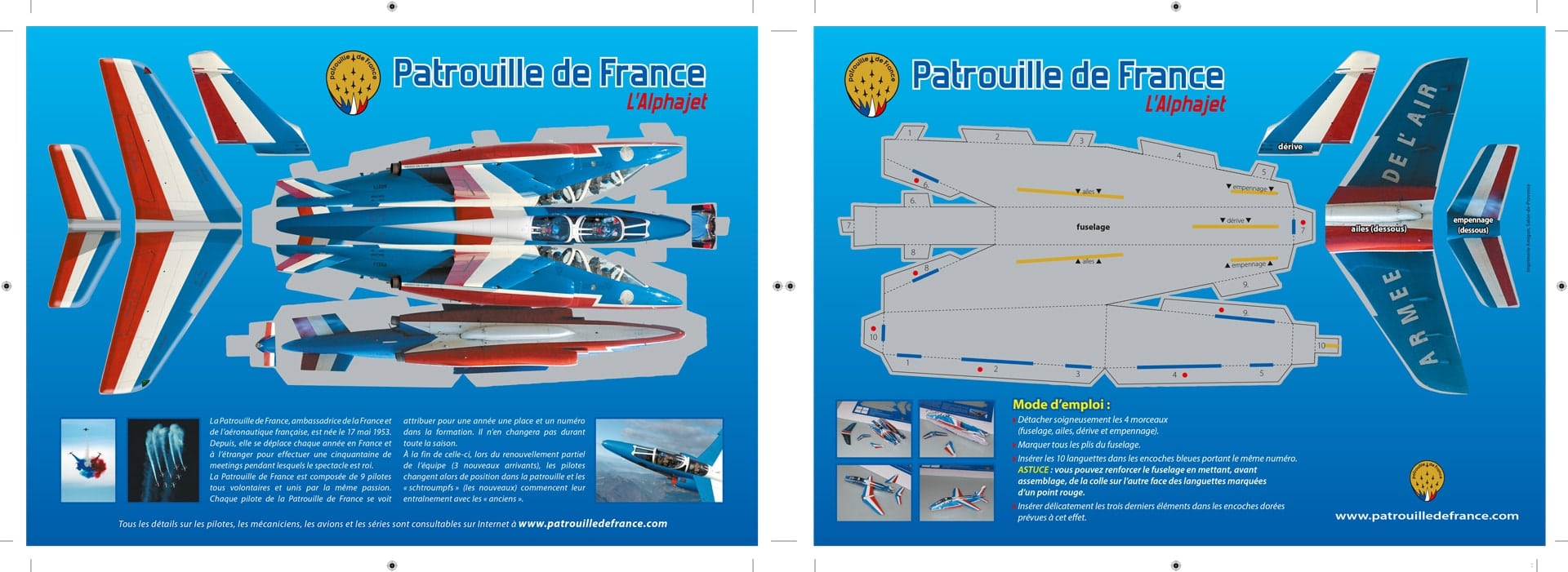 Planche paper toy Alphajet PAF