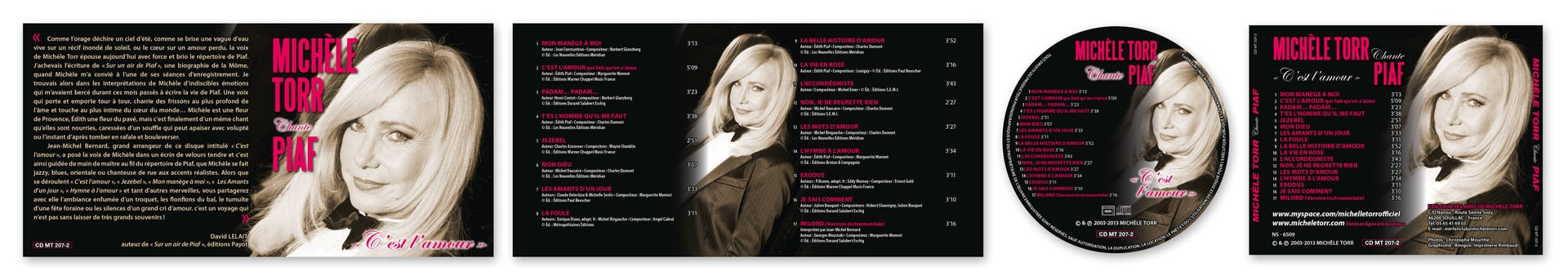 Pochette CD M. Torr Chante Piaf